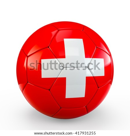 Soccer ball covered with Switzerland Swiss flag texture isolated on white background. 3D Rendering, 3D Illustration.