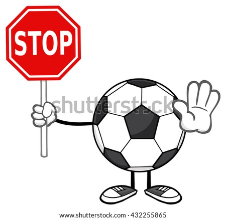 Soccer Ball Faceless Cartoon Mascot Character Gesturing And Holding A Stop Sign. Raster Illustration Isolated On White Background - stock photo