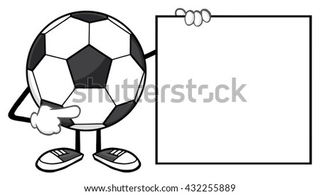 Soccer Ball Faceless Cartoon Mascot Character Pointing To A Blank Sign. Raster Illustration Isolated On White Background - stock photo