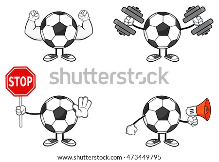 Soccer Ball Faceless Cartoon Mascot Character 3. Raster Collection Set Isolated On White Background