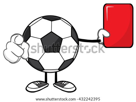 Soccer Ball Faceless Cartoon Mascot Character Referees Pointing And Showing Red Card. Raster Illustration Isolated On White Background - stock photo