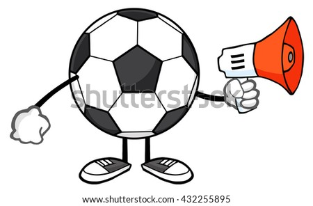 Soccer Ball Faceless Cartoon Mascot Character Using A Megaphone. Raster Illustration Isolated On White Background - stock photo