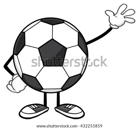 Soccer Ball Faceless Cartoon Mascot Character Waving For Greeting. Raster Illustration Isolated On White Background - stock photo