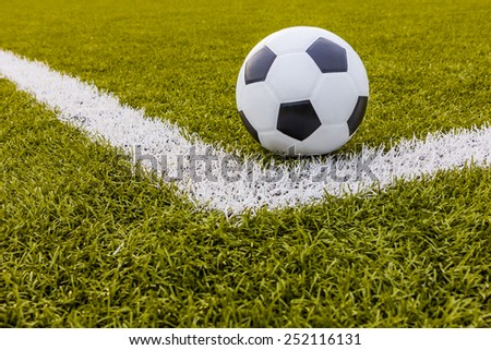 Soccer ball ,Football Artificial grass with white stripe, Football Stadium