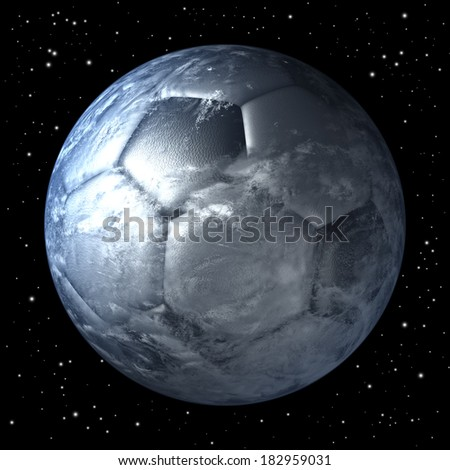 Soccer ball, football shaped planet earth free floating in space, 3d rendering - stock photo