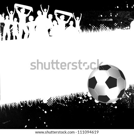 Soccer ball (football) with silhouettes of fans - stock photo