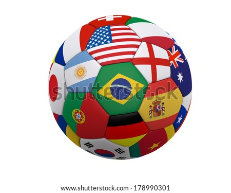 Soccer ball / Football with world flags including Brazil, Spain, England, Germany, Portugal ... isolated on a white background. - stock photo