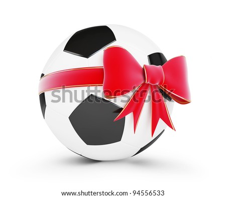soccer ball gift on a white background - stock photo