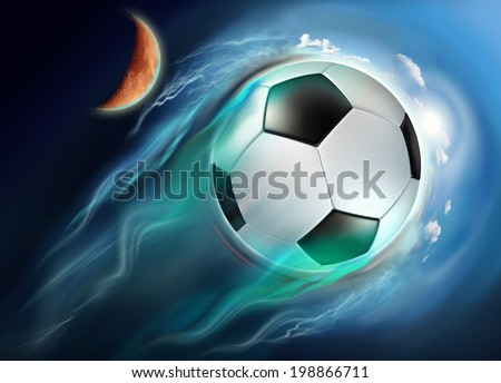 soccer ball globe travel in space with high speed