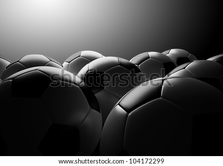 soccer ball group and effect light background - stock photo