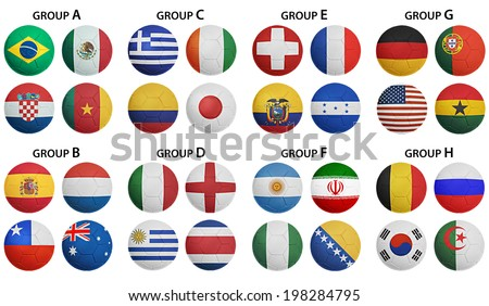 Soccer Ball Groups A to H, 32 nation flags. - stock photo