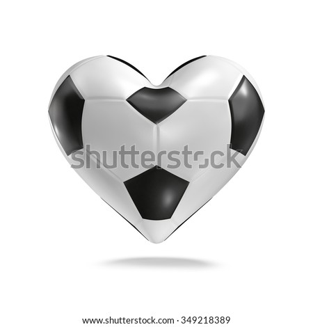 Soccer ball heart / 3D render of heart shaped soccer ball