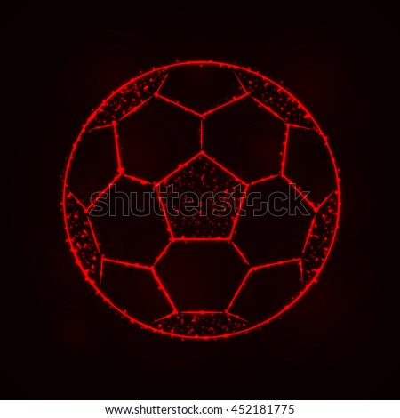 Soccer Ball Illustration Icon, Red Color Lights Silhouette on Dark Background. Glowing Lines and Points - stock photo