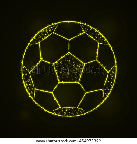 Soccer Ball Illustration Icon, Yellow Color Lights Silhouette on Dark Background. Glowing Lines and Points - stock photo