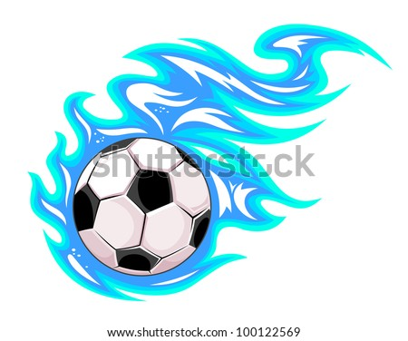 Soccer ball in blue flames. Jpeg version also available in gallery - stock photo
