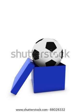 soccer ball in box - stock photo