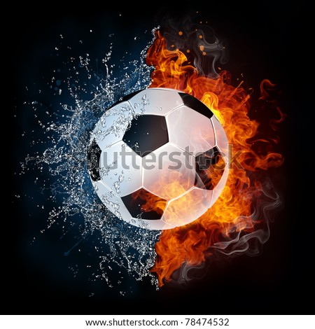 Soccer ball in fire and water. Illustration of the soccer ball enveloped in elements isolated on black background. High resolution soccer ball in fire and water image for a soccer game poster. - stock photo
