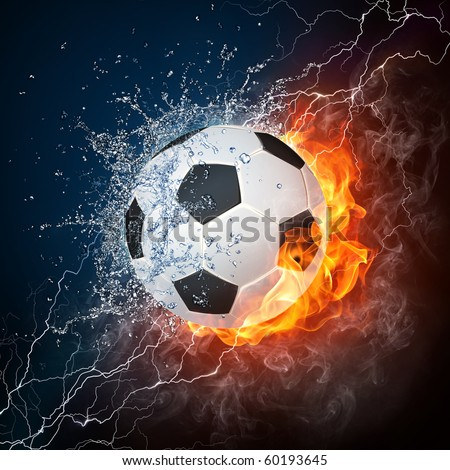 Soccer ball in fire and water. Illustration of the soccer ball enveloped in elements on black background. High resolution soccer ball in fire and water image for a soccer game poster. - stock photo