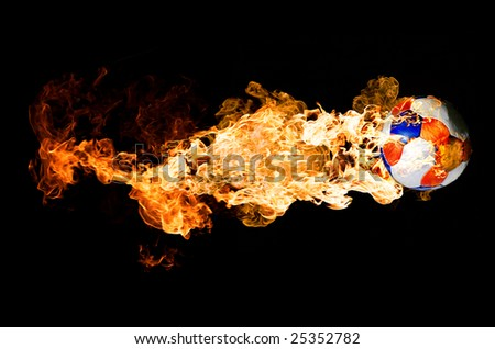 Soccer Ball in Flames - stock photo