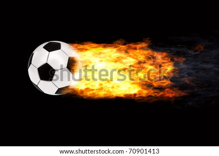 Soccer ball in flames on black background. High resolution 3D image - stock photo