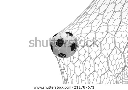 soccer ball in goal isolated on white with clipping path - stock photo