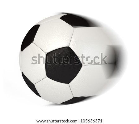 Soccer Ball in Motion. White background. 3d render