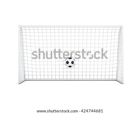 Soccer ball in net front view isolated on white background. Soccer ball and football gate. 3d rendering