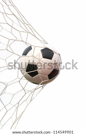 soccer ball in net on white - stock photo
