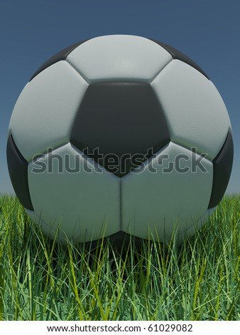 Soccer-ball in the grass against the blue sky - stock photo