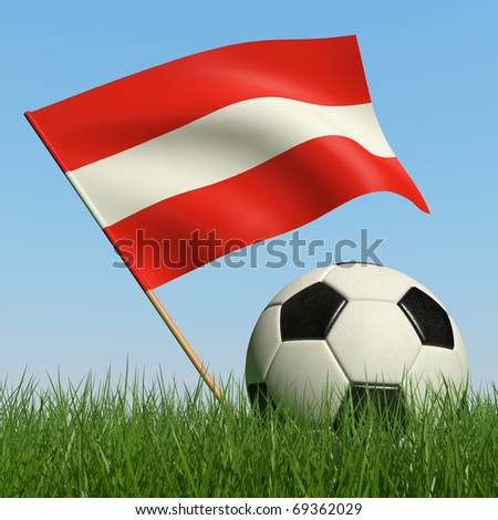 Soccer ball in the grass and the flag of Austria against the blue sky. 3d - stock photo