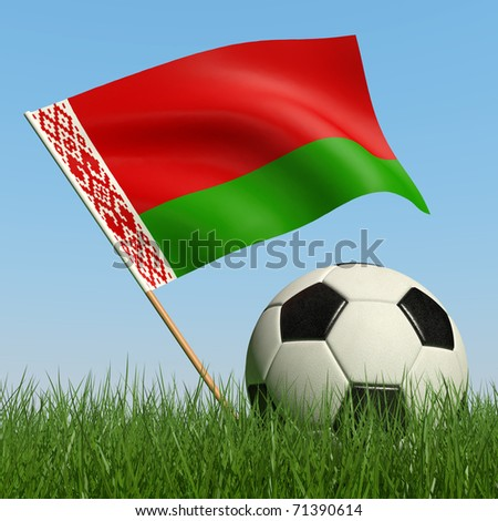 Soccer ball in the grass and the flag of Belarus against the blue sky. 3d - stock photo