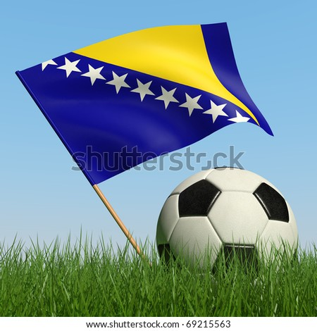 Soccer ball in the grass and the flag of Bosnia and Herzegovina against the blue sky. 3d - stock photo