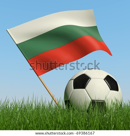 Soccer ball in the grass and the flag of Bulgaria against the blue sky. 3d - stock photo