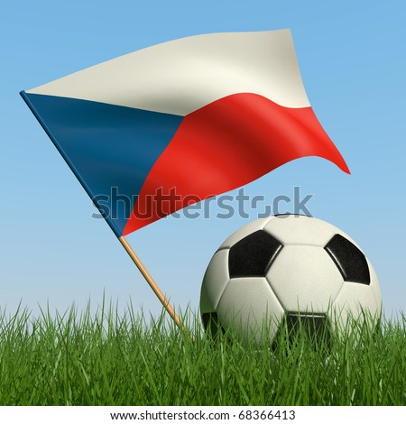 Soccer ball in the grass and the flag of Czech Republic against the blue sky. 3d - stock photo