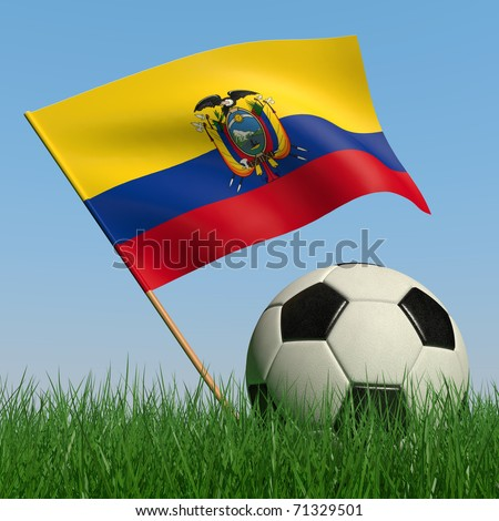 Soccer ball in the grass and the flag of Ecuador against the blue sky. 3d - stock photo