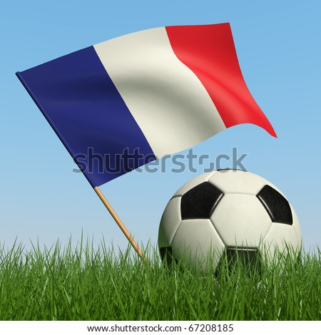 Soccer ball in the grass and the flag of France against the blue sky. 3d - stock photo
