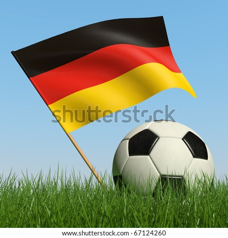 Soccer ball in the grass and the flag of Germany against the blue sky. 3d - stock photo
