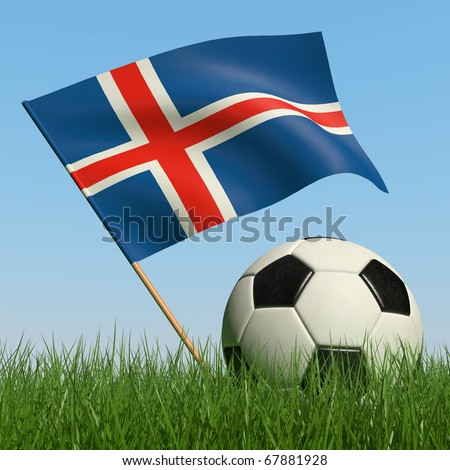 Soccer ball in the grass and the flag of Iceland against the blue sky. 3d - stock photo