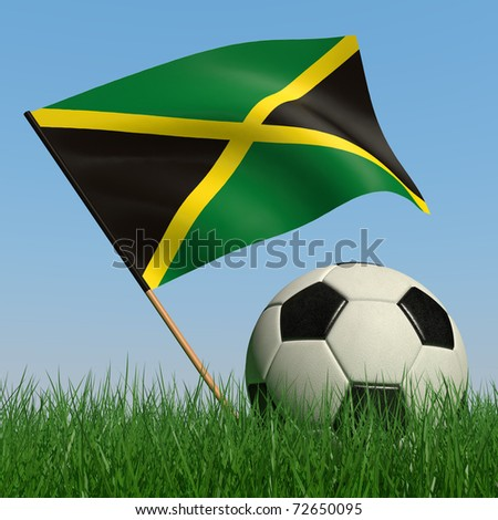 Soccer ball in the grass and the flag of Jamaica against the blue sky. 3d - stock photo