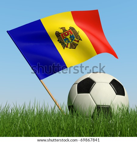 Soccer ball in the grass and the flag of Moldova against the blue sky. 3d - stock photo