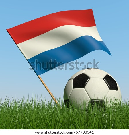 Soccer ball in the grass and the flag of Netherlands against the blue sky. 3d - stock photo