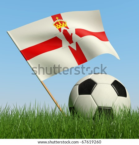 Soccer ball in the grass and the flag of Northern Ireland against the blue sky. 3d - stock photo