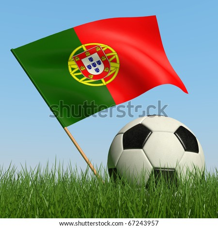 Soccer ball in the grass and the flag of Portugal against the blue sky. 3d - stock photo