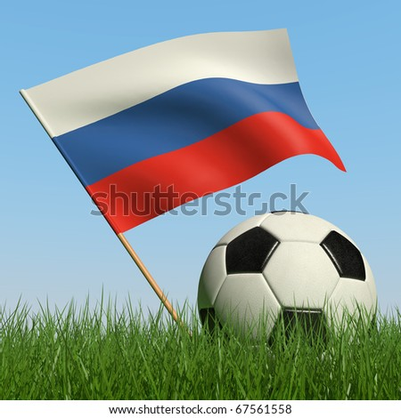 Soccer ball in the grass and the flag of Russia against the blue sky. 3d - stock photo