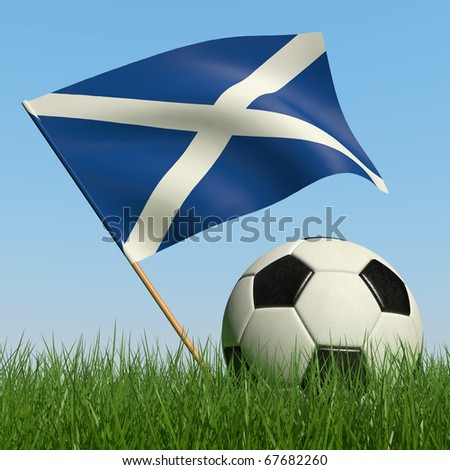 Soccer ball in the grass and the flag of Scotland against the blue sky. 3d - stock photo