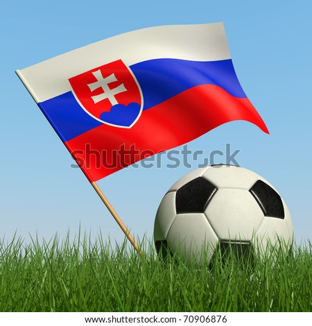 Soccer ball in the grass and the flag of Slovakia against the blue sky. 3d