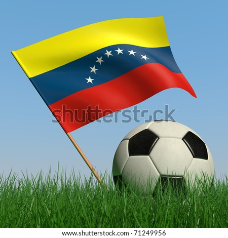 Soccer ball in the grass and the flag of Venezuela against the blue sky. 3d - stock photo