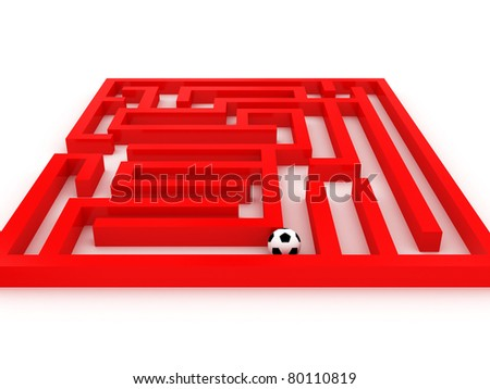 Soccer-ball in the labyrinth isolated on white background. 3D - stock photo