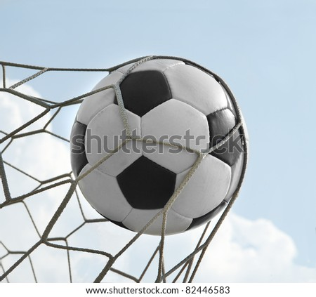 soccer ball in the net. goal - stock photo