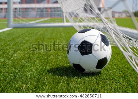 Soccer ball in the net on the lawn